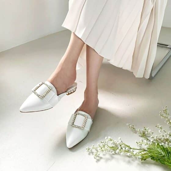 Lovely pearl mules loafers