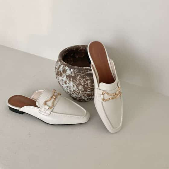 Gold metal decoration loafers