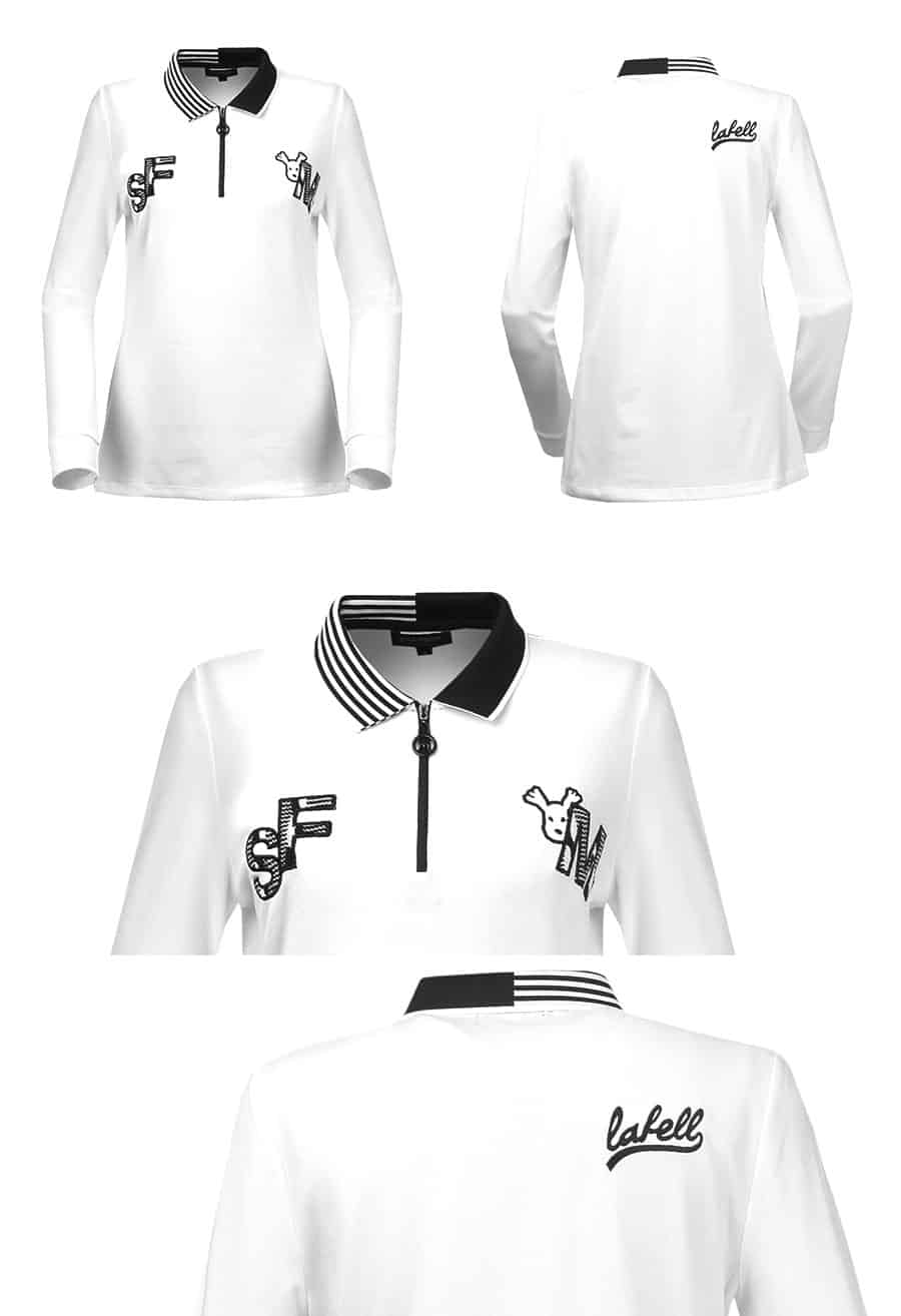 Patterned accentuated collar T-shirt