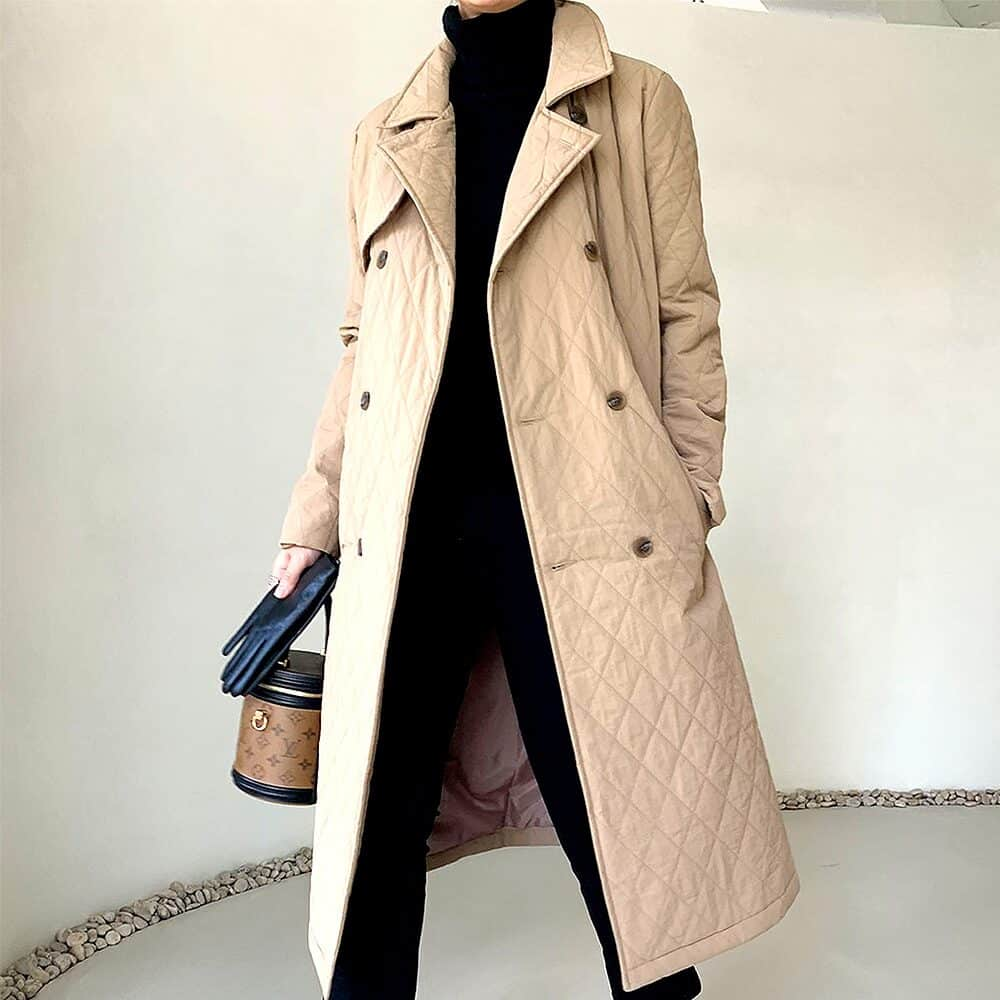 Quilting trench padded coat