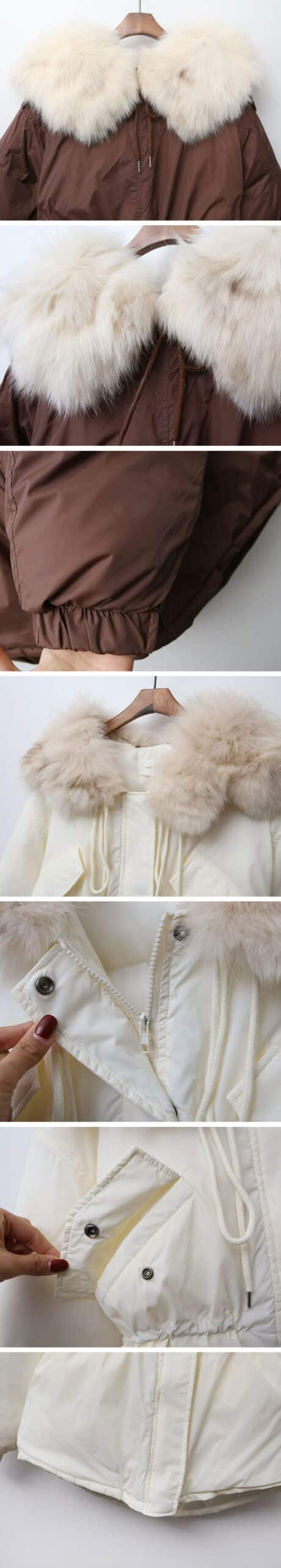 Duck-down padded coat with detachable fur