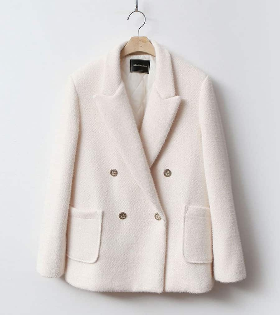Padded soft wool jacket with lining